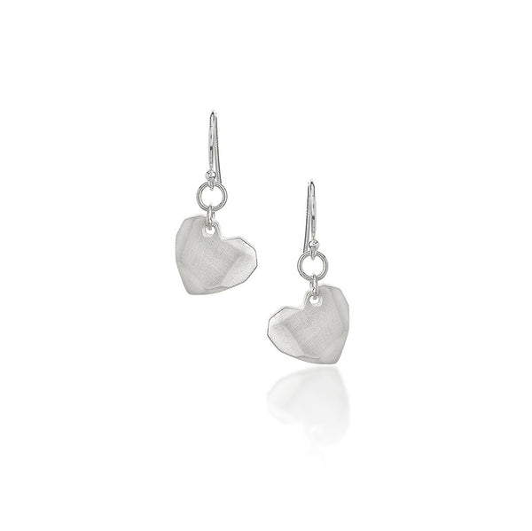 Tiny Facet Heart Earrings