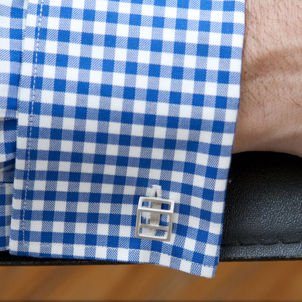 Cube Cufflinks on Man