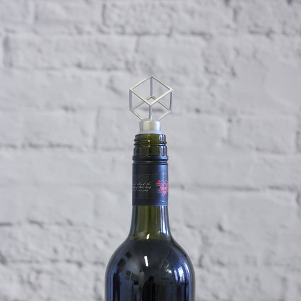 Cube Wine Stopper in bottle