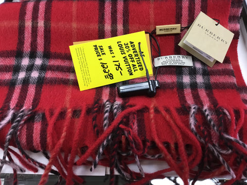 Burberry Red Wool Check Scarf Rank NWT