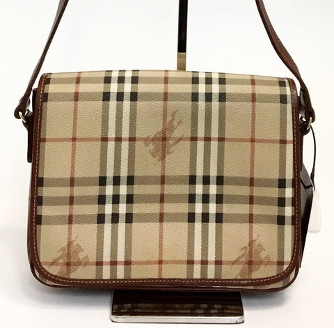 Burberry Haymarket Crossbody w/Burgandy Logo Interior