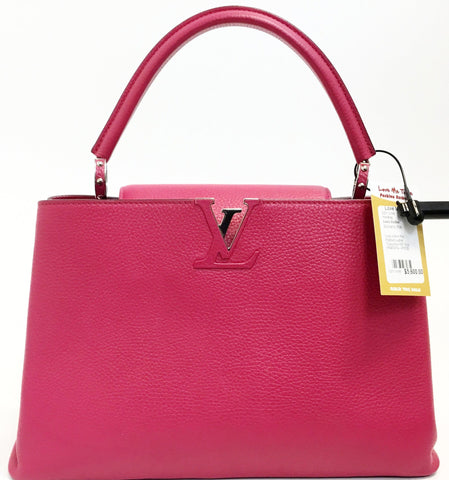 "Louis Vuitton Pink Pebbled Leather ""Capucines MM"" Style M54874 No. AR0125"