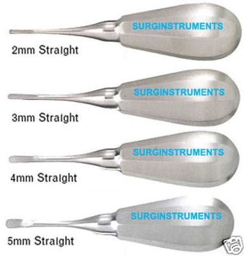 4 Luxating Straight Elevators Set Dental Instruments