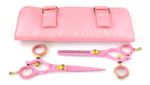 2 Piece Hairdressing Set - Scissors Thinning Shears In Protective Snap Case PINK