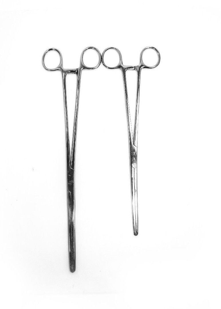 "2pc Set 10"" + 12"" Straight Hemostat Forceps Locking Clamps Stainless Steel"