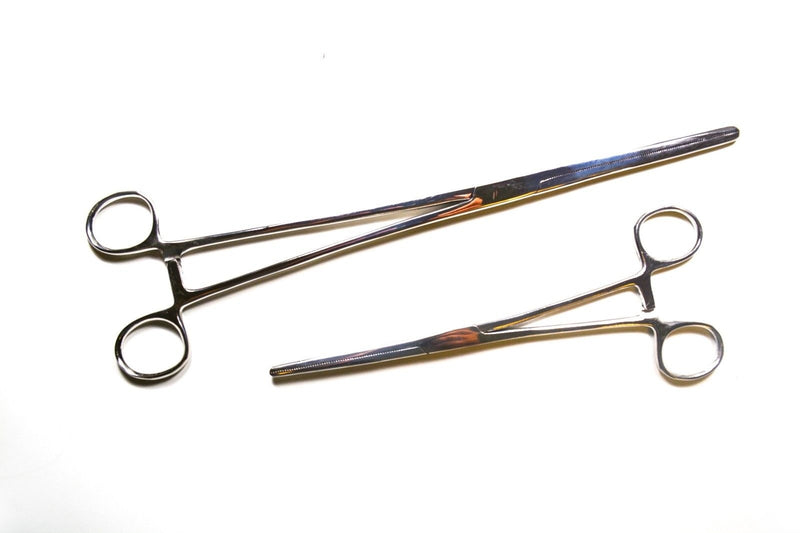 "2pc Fishing Set 8"" + 12"" Straight Hemostat Forceps Locking Clamps Stainless"