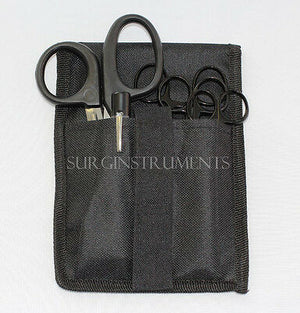 5 Piece BLACK Paramedic Set With Case - Diagnostic EMT Nursing EMS Emergency