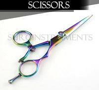 "6"" Razor Edge Hair Cutting Dressing Salon Scissors Barber Shears - Rainbow Steel"