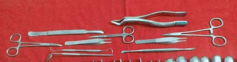 34 Pcs Oral Dental Extraction Surgery Extracting Elevators Forceps Instruments