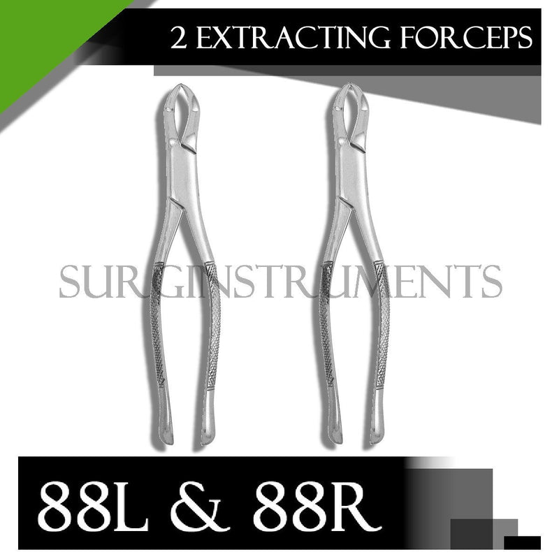 2 Dental Surgery Tooth Extracting Forceps # 88 L & 88 R - 88L and 88R