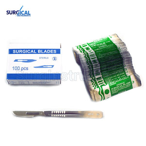 (Lot of 100) Scalpel Blades #22 with #4 Metal Handle Suitable for Dermaplaning