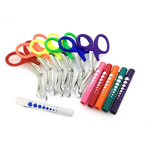 "Assorted Rainbow 6 Pcs Pink EMT First Responder 7.5"" Shears + Rainbow Penlights"