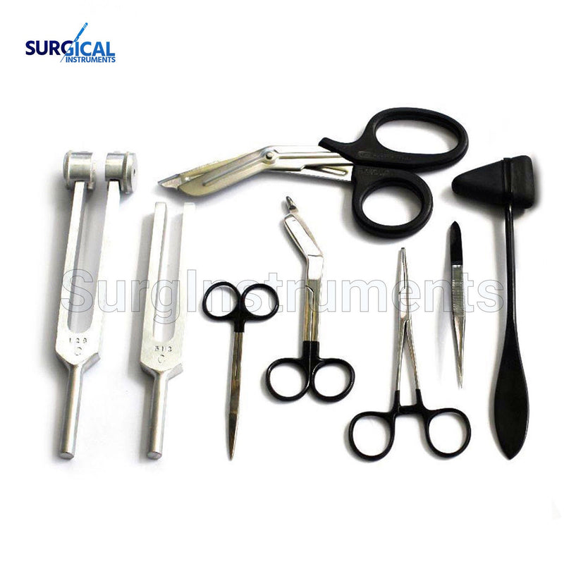 8 pcs Medical Diagnostic Kit in Black Ideal for EMT, Nursing, Surgical, EMS