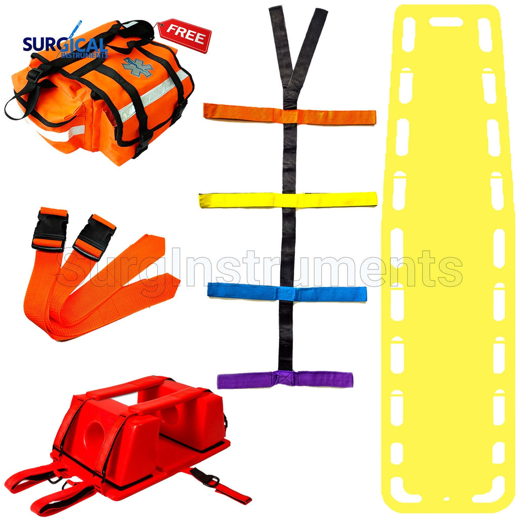 Yellow EMT Backboard Spine Board Stretcher Immobilization Kit - Free Trauma Bag