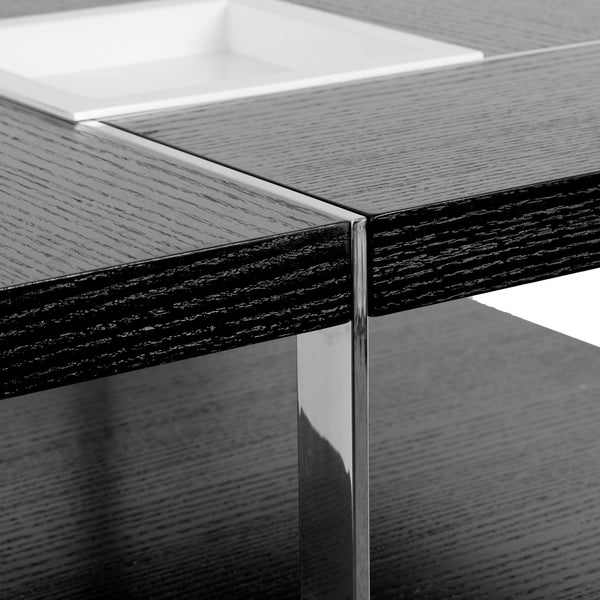 Square Coffee Table Metal Legs: Airi Black Square Coffee Table With Modern White Tray