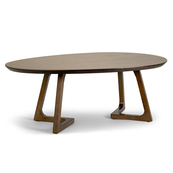 Oval Wooden Coffee Table With Shelf: Ailsa Walnut Color Irregular Oval Round Coffee Table