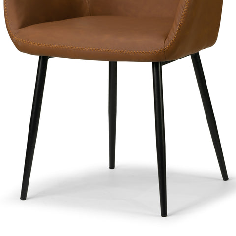 Set Of 2 Alrik Caramel Brown Arm Chair With Zigzag