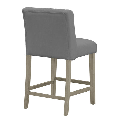 Sensational Set Of 2 Aled Grey Fabric Counter Stool With Side Wings And Tufted Buttons Ibusinesslaw Wood Chair Design Ideas Ibusinesslaworg