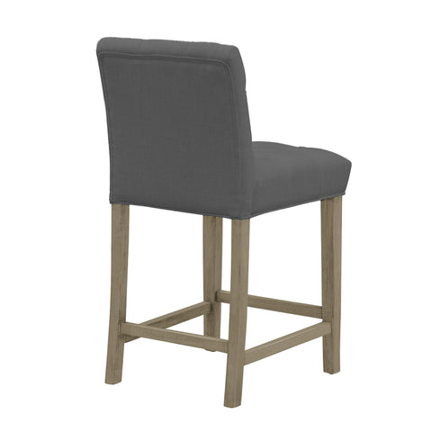 Admirable Set Of 2 Alee Grey Fabric Counter Stool With Tufted Buttons And Wood Legs Ibusinesslaw Wood Chair Design Ideas Ibusinesslaworg