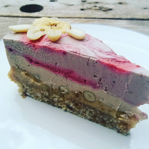 Raspberry & Banana with Peanut Praline