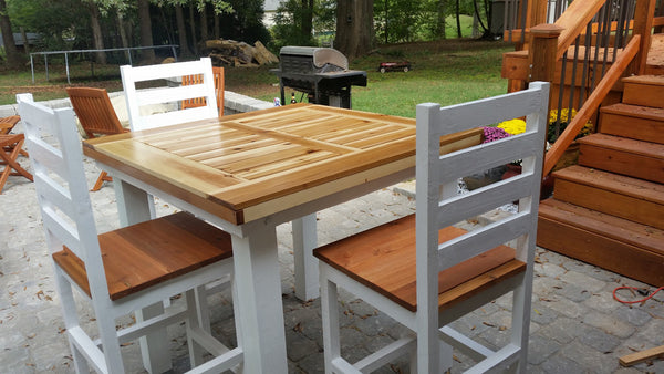 DIY outdoor cedar pub table