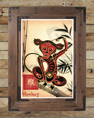 Chinese zodiac, monkey art, asian wall art, chinese zodiac art, asian art print