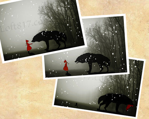 Red riding hood art, Brothers Grimm art, series of 3 prints -  - 1