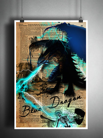 Blue Dragon art print with Dragon dictionary page definition, fantasy monster artwork