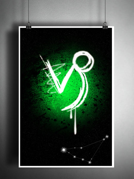 Capricorn zodiac sign art, horoscope symbol artwork, green earth element