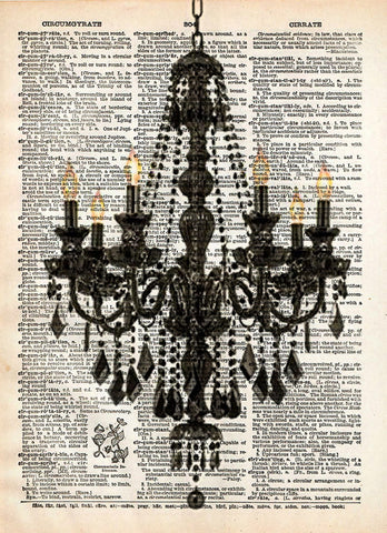 Vintage chandelier art, romantic french art print on vintage dictionary page