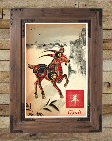 Chinese Zodiac Goat, asian wall decor, Sumi-e Asian wall decor, Japanese ink painting, Zodiac art print