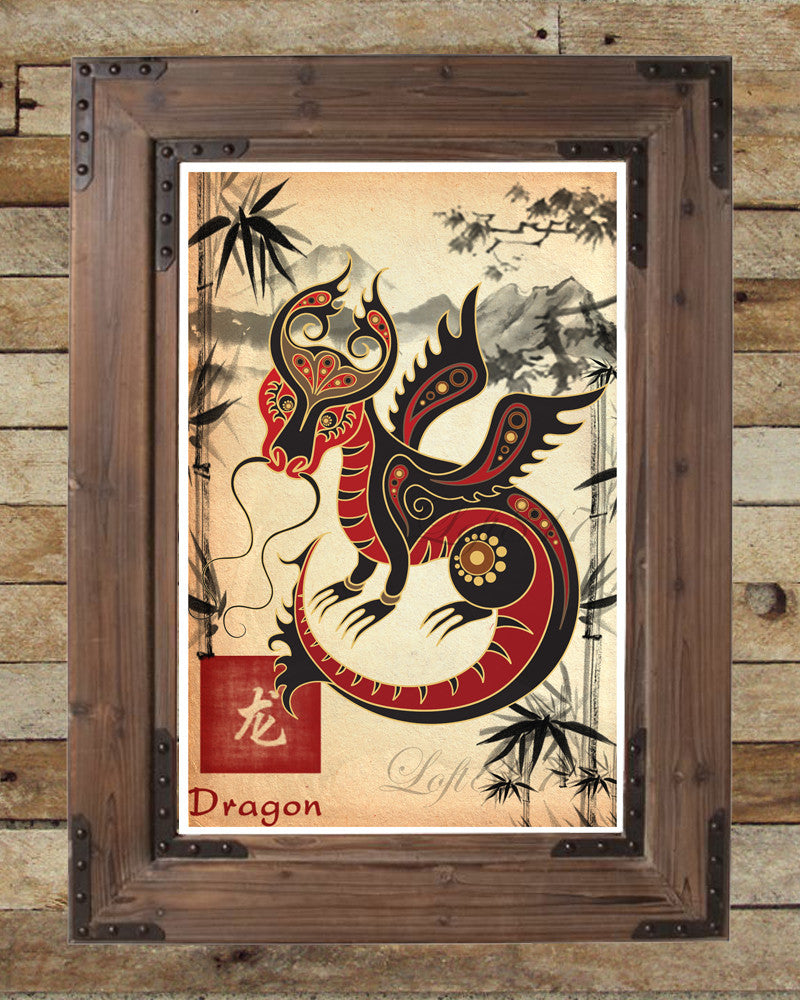 Chinese Zodiac Dragon, Asian Dragon, Asian Wall Decor, Japanese Ink  Painting, Asian ...