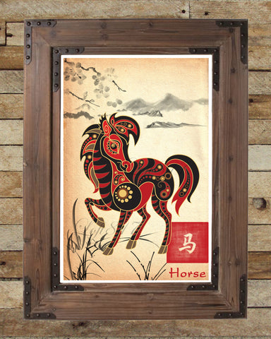 Chinese Zodiac Horse, asian wall art, asian art print, japanese ink painting, asian wall decor