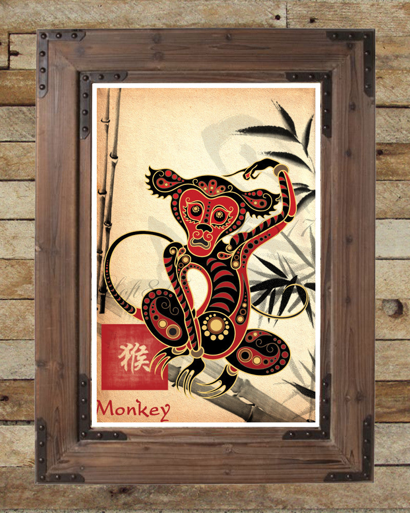 Chinese Zodiac Monkey, Asian Wall Art, Monkey Art Print, Childrens Animal  Art, ...