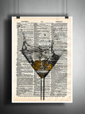 Martini splash art print, Martini art Martini bar, cocktail art print, mancave art