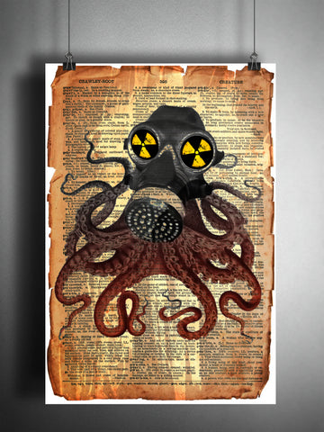 Steampunk octopus with gas mask, weird steampunk art print