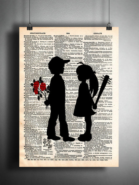Girl with bat, boy with flower art print. Banksy inspired art print. boy meets girl art -  - 1