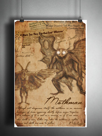The Mothman cryptid art, urban legend bestiary cryptozoology science journal art, monsters and folklore,