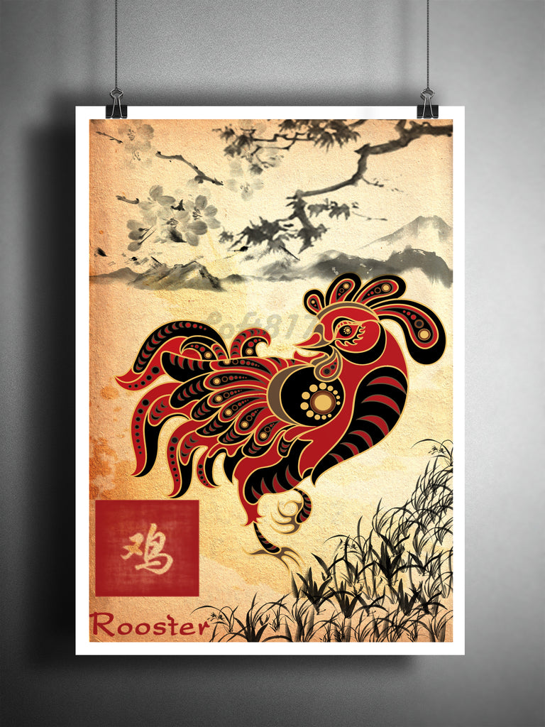 Chinese Zodiac Rooster Asian Wall Decor Sumi E Asian Wall Decor Japanese Ink Painting Zodiac Art Print
