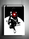 Sexy Art, Female figure art, glowing heart print, heart artwork, black and white wall art, sexy art