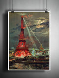 Eiffel tower french art, romantic Eiffel tower print, Georges Garen 1889 art print