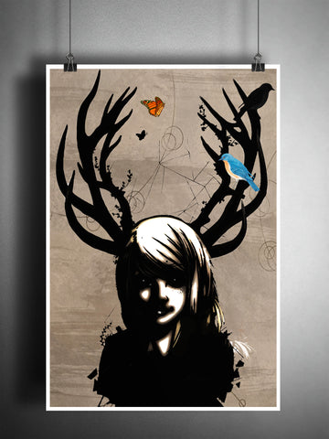 Girl with antlers, Deer girl art print, Dark fae, dictionary page art print