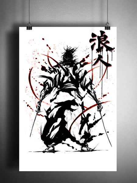 Ronin Samurai warrior art #2,, bushido katana artwork, Japanese ink painting,