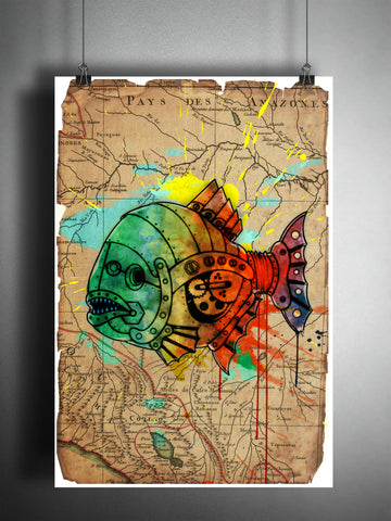 Piranha splatter art, Mechanical animal colorful beach decor, old map artwork