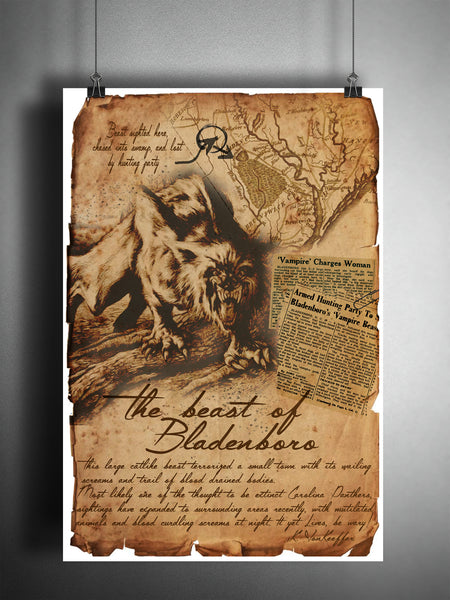 The beast of Bladenboro, weird North Carolina art, creepy horror artwork, myths and monsters bestiary