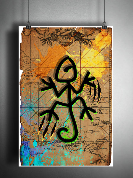 Taino Lizard splatter art, colorful caribbean beach decor, old map artwork.