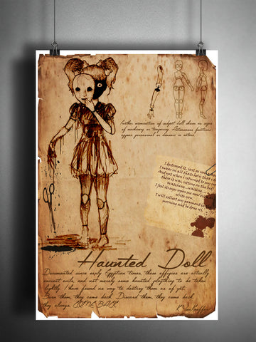 Creepy Haunted doll, victorian girl creepy horror artwork, myths and monsters bestiary