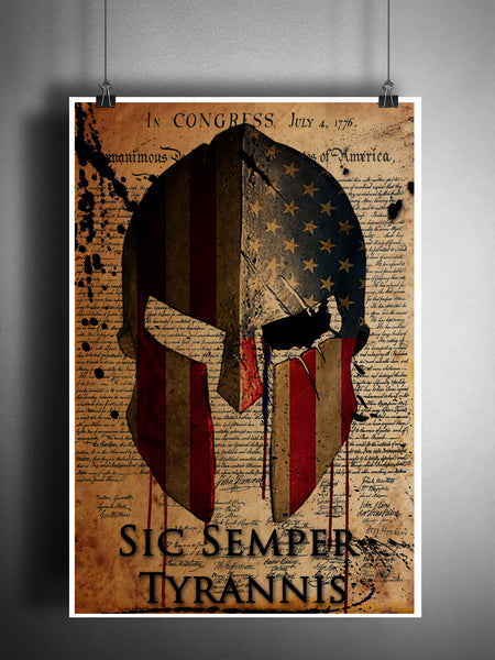 Spartan helmet Sic Semper Tyrannis art, declaration of independence americana artwork