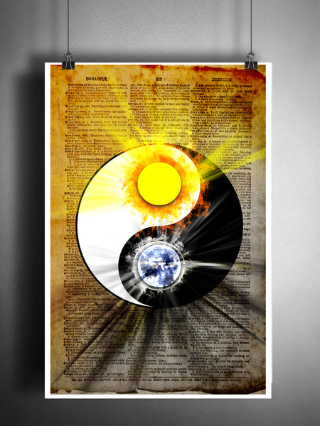 Yin yang art print with sun and moon, Balance zen art