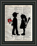 Girl with bat, boy with flower art print. Banksy inspired art print. boy meets girl art -  - 3